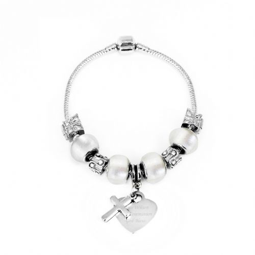 Personalised Cross Charm Bracelet - Ice White - 18cm
